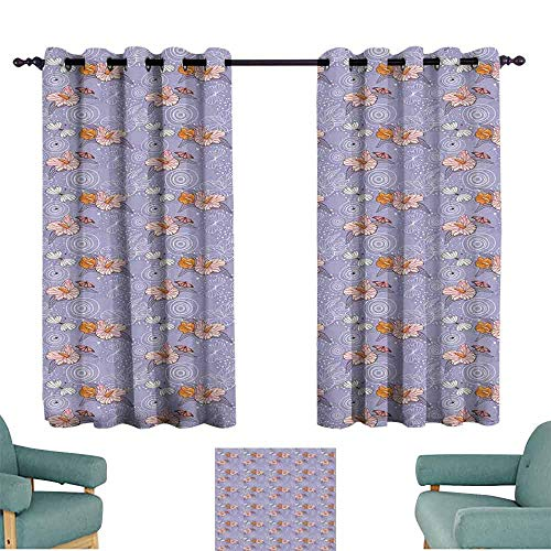 SONGDAYONE Flower Polyester Curtain Retro Romantic Nature Composition with Lilies Butterflies and Abstract Dragonflies Reduce Light Multicolor (2 Panels,W96 ()