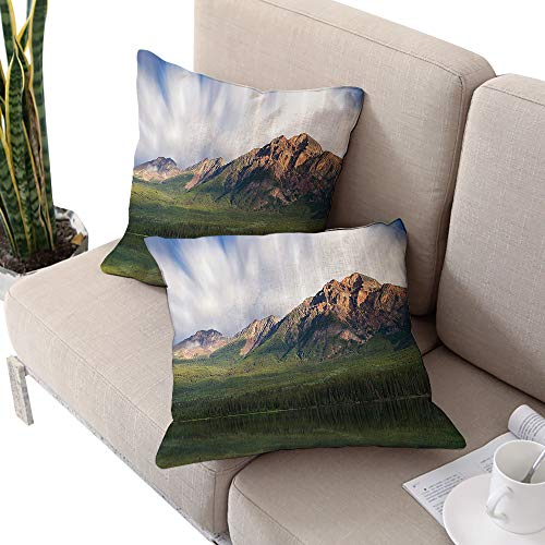 Scenery House Decor Square chaise lounge cushion cover ,Pyramid Majestic Mountain above Valley Meadow Rural Countryside Print Green White W18