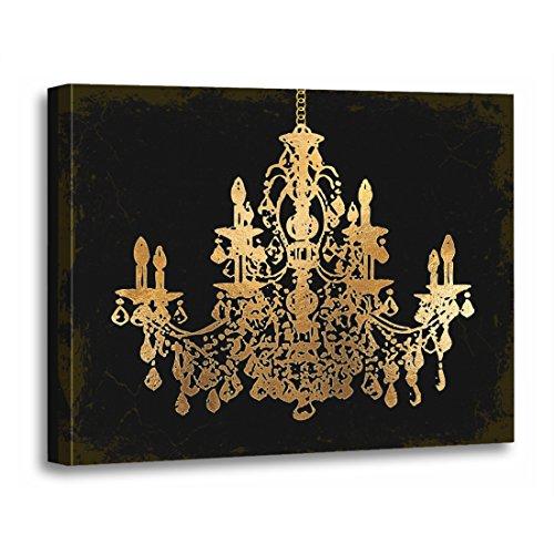 TORASS Canvas Wall Art Print Crystal Grunge Bckgrnd Gold Chandelier Black Artwork for Home Decor 12