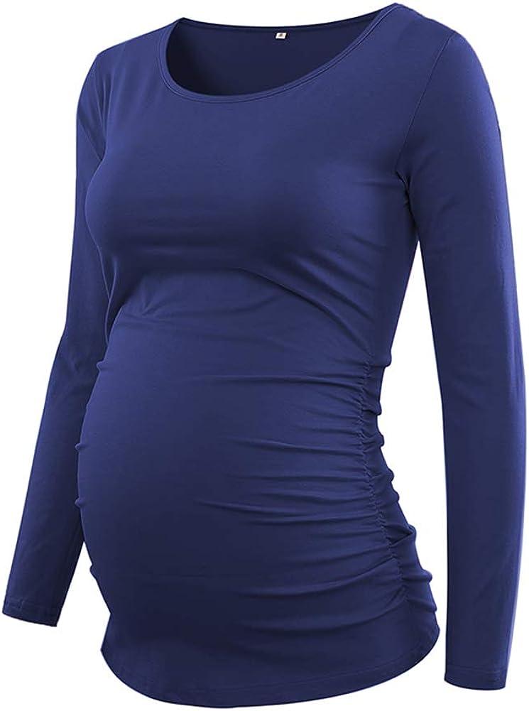 Love2Mi Damen Langarm Schwanger T-Shirt Umstandsshirt Umstandstop Schwangerschaft