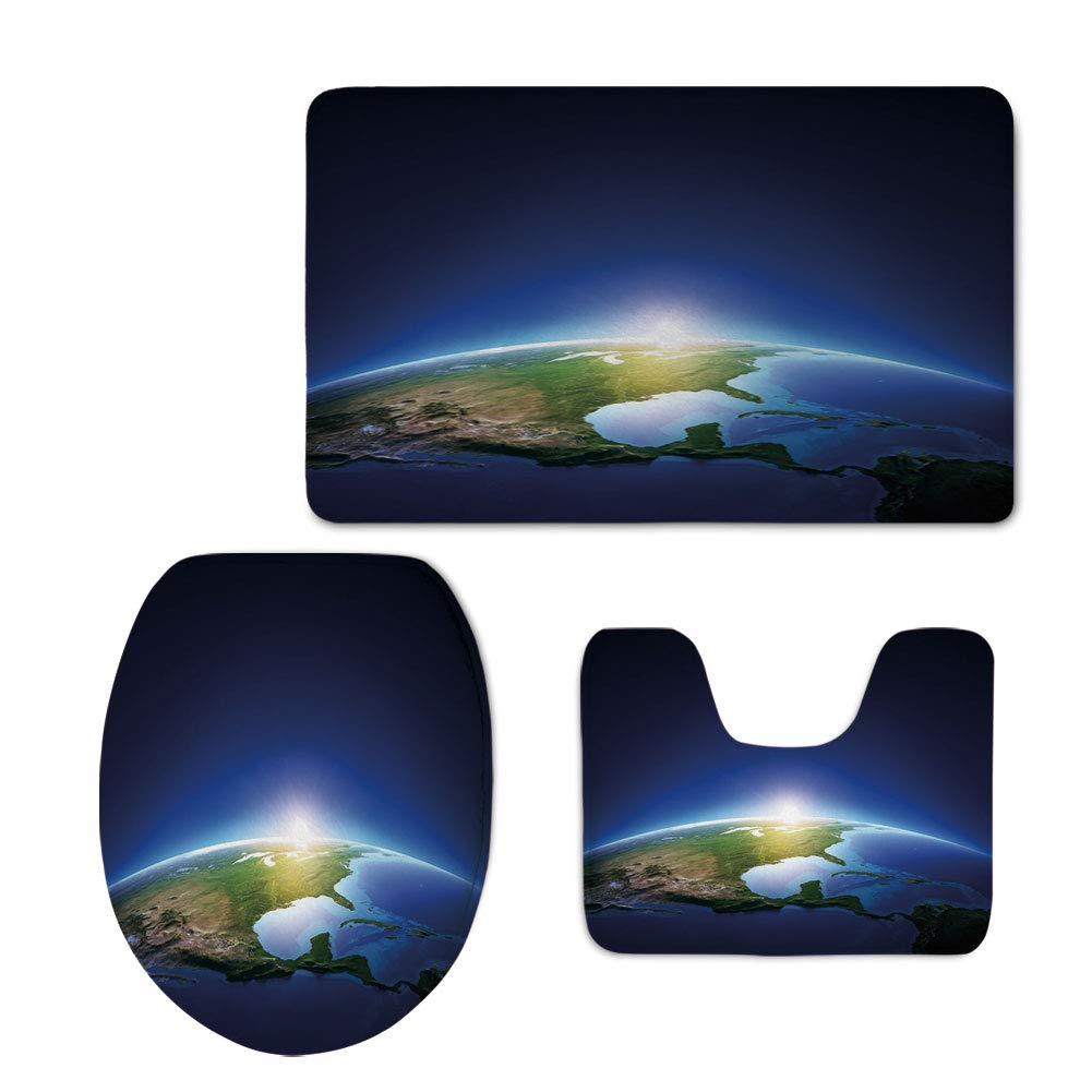 Fashion 3D Baseball Printed,Earth,Earth Sunrise over Cloudless North America Atmosphere Space Solar System Decorative,Blue Dark Blue Green,U-Shaped Toilet Mat+Area Rug+Toilet Lid Covers 3PCS/Set