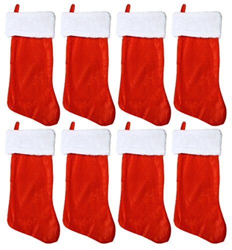 Set of 8 Black Duck Brand 19'' Red Soft Plush Stocking (8 Pack) W/White Plush Cuff & Red Hanging Tag by Black Duck Brand