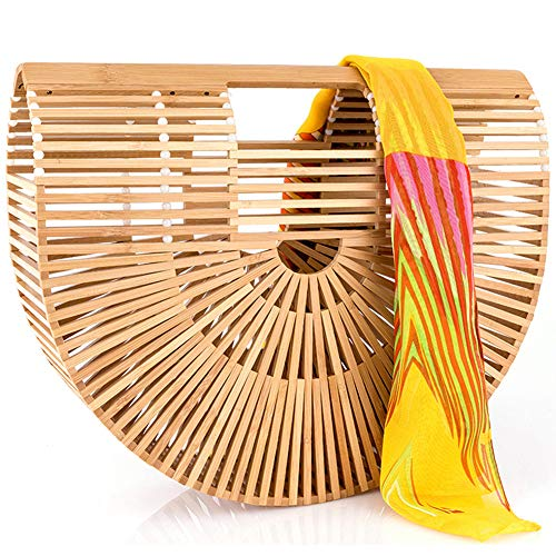 Girl Tote Handbag - Bamboo Handbag Handmade Large Bamboo Tote Bag Bamboo Purse Straw Beach Bag Clutch For Women & Girls