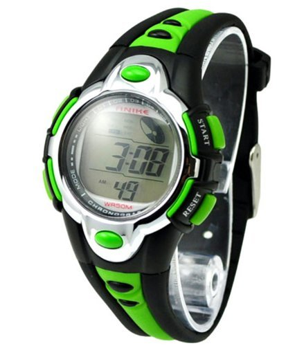 - Kids Watches Flash Lights 50m Waterproof Chronograph Digital Sports Watch - Green Color