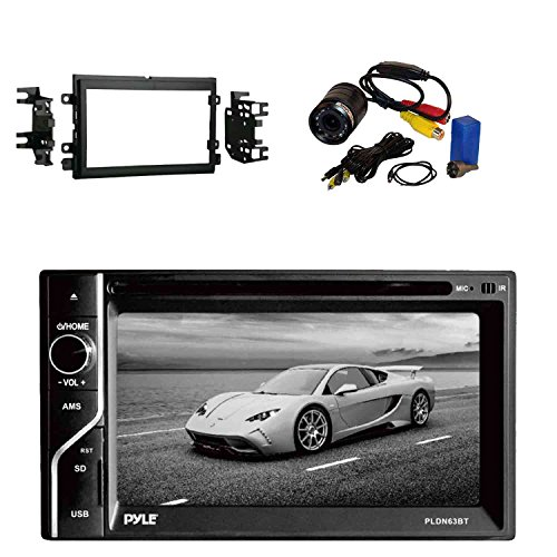 Pyle PLDN63BT 6.5'' 2-DIN in-Dash Touch Screen BT Receiver with Metra 95-5812 2-DIN Radio Installation Kit for 04-up Ford Vehicles & Pyle PLCM22IR Flush Mount Rear View Camera w/0.5 Lux Night Vision