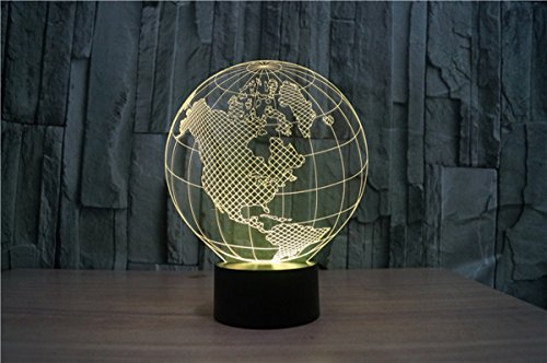 WONFAST® 3D World American Globe Optical Illusion Lighting 7 Colors Change Touch Switch LED Table Lamp Children's Night Light for Home Decoration Household Bedroom by WONFAST (Image #4)'