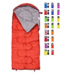 Sleeping Bag For Cold Weather 4 Season Envelope Shape Bags By RevalCamp Great For Kids Teens Adults Warm And Lightweight Perfect For Hiking Backpacking Camping Color Red LeftZip