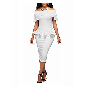 Vestido de Trabajo para Mujer Vestido de Fiesta de Negocios Vestido con Volante Bodycon Sin Mangas Vestido con lápiz Abrigo de Mujer Cóctel Vintage Ropa ...