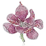 EVER FAITH Women's Austrian Crystal Orchid Flower Petal Brooch Pink Silver-Tone