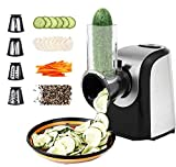 Automatic Salad Maker Machine Professional Electric Slicer Shredder with One-Touch Control and 4 Free Attachments for fruits, vegetables, and cheeses (BLACK/SILVER)