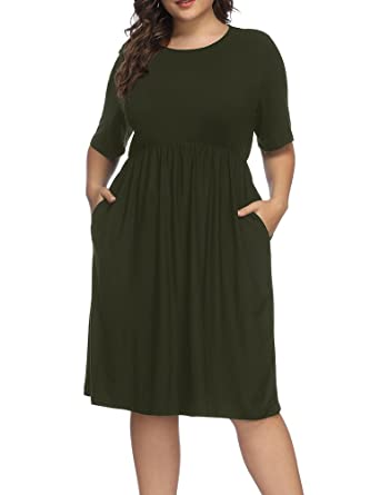 7cf94f876a6 Allegrace Women Plus Size Half Sleeve Round Neck Cocktail Midi Dress Ruffle Party  Dresses Army Green