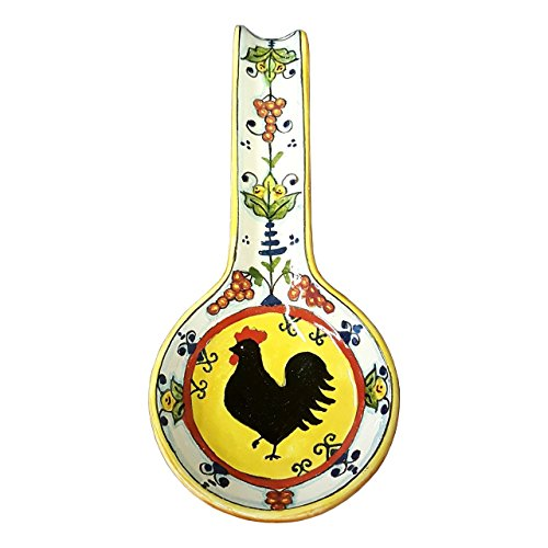 Lily Salad Serving Spoon (CERAMICHE D'ARTE PARRINI - Italian Ceramic Art Spoon Rest Pottery Holder Hand Painted Decorated Rooster Gaul Made in ITALY Tuscan)