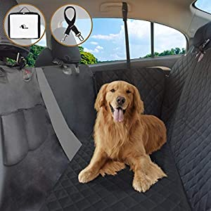 FRUITEAM Dog Car Seat Cover Hammock, Pet Car Backseat Protector Waterproof&Nonslip with Mesh Visual Window, Heavy-Duty for All Standard Cars SUV Trucks 83