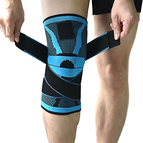 Knee Brace,Compression Knee Sleeve,Non-slip Adjustable Knee Braces Wraps with Pressure Strap and Knee Protector for Running,Sports,Joint Patella Pain Relief,Arthritis and Injury Recovery- Single