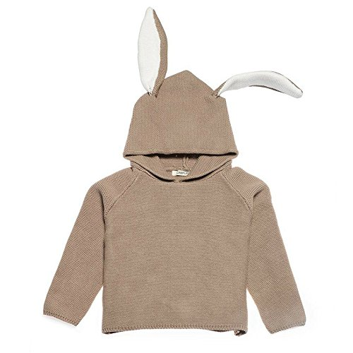 - Toddler and Baby Sweaters for Girls and Boys - Cute Rabbit Coat Knitted Hoodie Sweatshirt with Bunny Ears and White Tail (3T, Khaki)