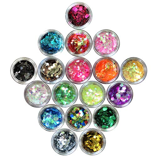 Nail Glitter 18 Boxes Nail Art Flakes Hexagon Confetti Glitter Chunky Glitters for Hair Face and Eye Make Up Foil Flakes for Slime (18 Colors, Big Hexagons)