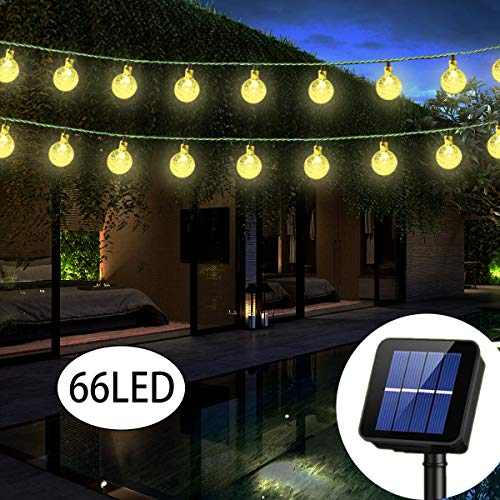 Solar String Lights Globe 38 Feet 66 Crystal Balls Waterproof LED Fairy Lights 8 Modes Outdoor Starry Lights Solar Powered String Light for Garden Yard Home Party Wedding Decoration (Warm White) (Led Light For Globes Solar)
