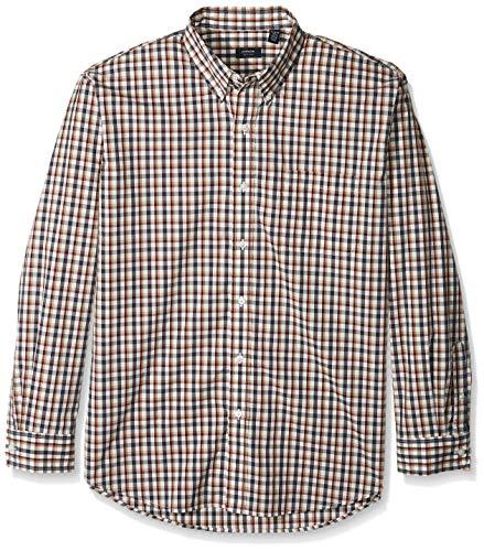 Arrow 1851 Men's Hamilton Poplins Long Sleeve Button Down Plaid Shirt, Star White, Medium