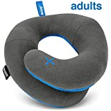 BCOZZY Travel Pillow, Patented Neck & Chin Support for Comfortable Sleep on Airplane & Car, Lightweight & Soft, Dual-Sided Climate Control Cover, Fully Machine Washable. Adult, Gray