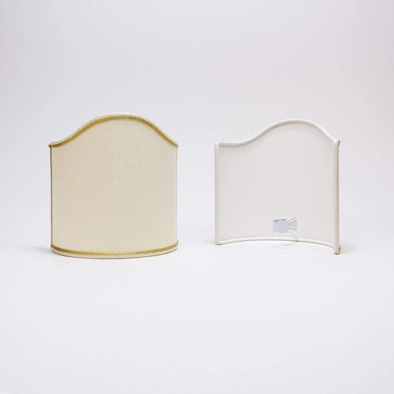 Horus Paralumi - Paralume Ventola 12 cm Mezzo Tondo Vela per Applique, lampadario con Attacco a Pinza, Shantung Avorio, Made in Italy