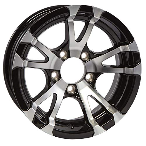 Aluminum Boat Camper Trailer Rim Wheel 5 Lug 14 in. Avalanche V-Spoke/Black