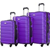 Cheap Merax Luggage Set 3 Piece Lightweight Spinner Suitcase (Purple)