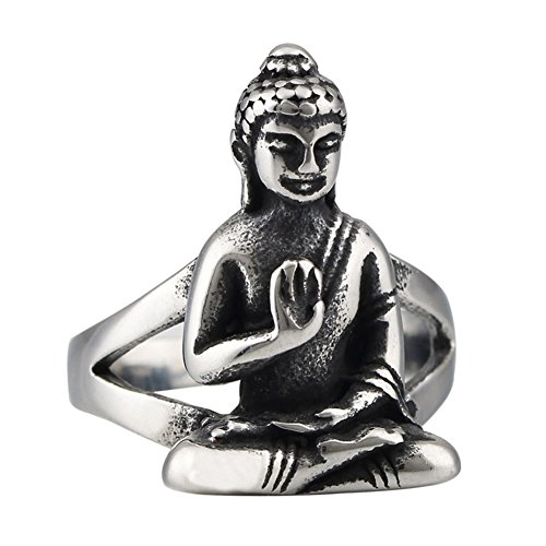 Tribal Tibet Silver Buddha Stainless Steel Mens Womens Ring