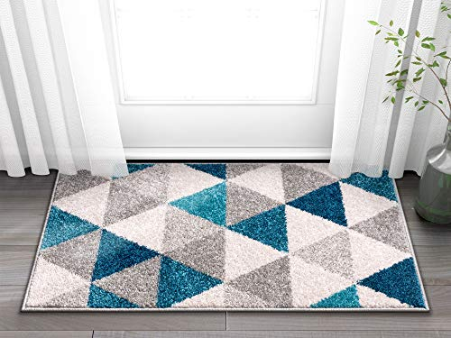 Well Woven Isometry Blue & Grey Modern Geometric Triangle Pattern 5' x...
