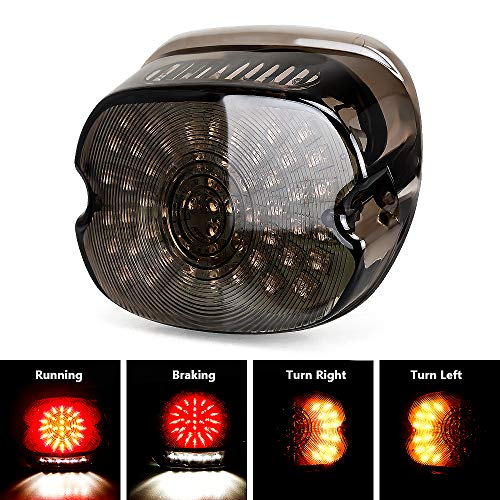 Harley Davidson Smoked LED Tail Light Brake Turn Signal Lights for 2002-2010 FXST Models Harley Sportster 1200 Dyna Smoke Lens Lay Down Style ()