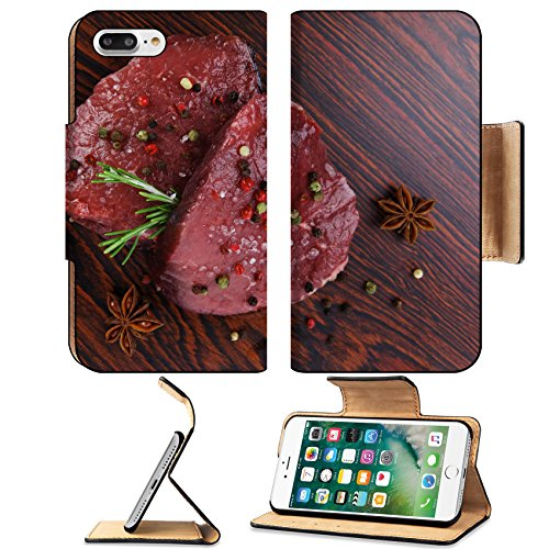 Luxlady Premium Apple iPhone 7 Plus Flip Pu Leather Wallet Case iPhone7 Plus 25965039 fresh raw beef fillet mignon on old retro style wood as background with rosemary peppercorn and ()