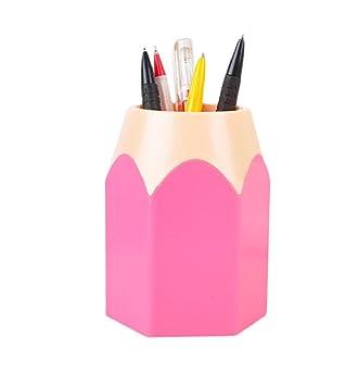Big Pencil Sharp Pen Holder Beudvo Desk Organizer Storage Office Accessories  School Supplies (Pink)