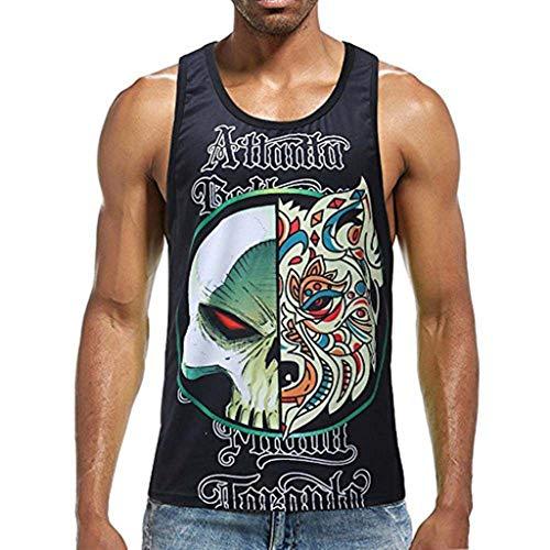 Men Casual Striped Letter Animal Print Tank Top O-Neck Fitness Muscle Sleeveless Singlet T-Shirt Vest Black]()