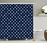 Polka Dot Shower Curtain Ambesonne Navy Blue Decor Shower Curtain by, Cute Polka Dots 50s 60s Pattern for Nursery Room Spots Art Design, Fabric Bathroom Decor Set with Hooks, 70 Inches, Purple Blue and Navy