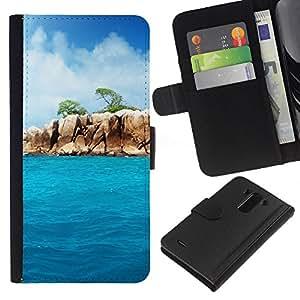 JackGot ( Paradise Rocks ) LG G3 la tarjeta de Crédito Slots PU Funda de cuero Monedero caso cubierta de piel