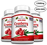Non GMO Cranberry Concentrate Supplement Pills for Urinary Tract Infection UTI. Equals 12600mg Cranberries. Triple Strength Kidney Bladder Health for Men & Women. Easy to Swallow Softgels, 3 Bottles