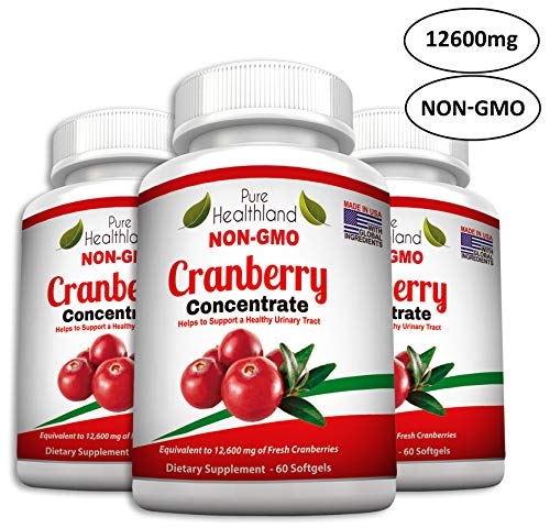 Non GMO Cranberry Concentrate Supplement Pills for Urinary Tract Infection UTI. Equals 12600mg Cranberries. Triple Strength Kidney Bladder Health for Men & Women. Easy to Swallow Softgels, 3 Bottles -