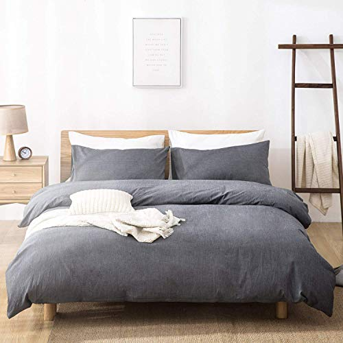 Duvet Cover Queen Size 3 Piece, 100% Washed Cotton, Solid Color and Ultra Soft with Zipper Closure, Corner Ties, Simple Bedding Style, Gray