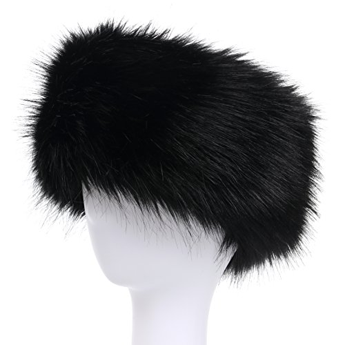 La Carrie Faux Fur Headband with Stretch Women's Winter Earwarmer Earmuff (black)