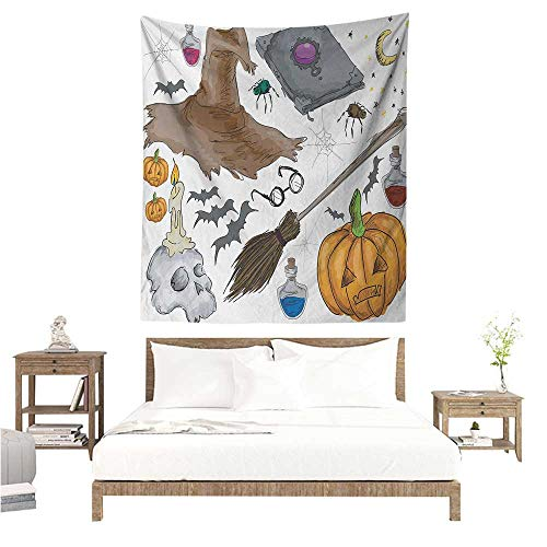 Tapestry Wall Hanging 3D Printing Halloween Magic Spells Witch Craft Objects Doodle Style Illustration Grunge Design Skull 54W x 72L INCH Suitable for Bedroom Living Room Dormitory ()