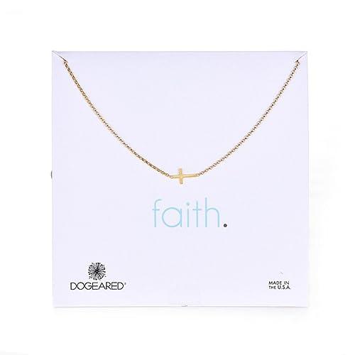 Dogeared faith 14k gold plated silver sideways cross pendant dogeared quotfaithquot 14k gold plated silver sideways cross pendant necklace aloadofball Gallery