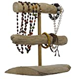 Handmade Indonesian 2-Tier Natural Driftwood Double T-Bar Bracelet Organizer Holder