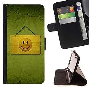 BullDog Case - FOR/Samsung ALPHA G850 / - / smiley happy face drawing sign symbol yellow /- Monedero de cuero de la PU Llevar cubierta de la caja con el ID Credit Card Slots Flip funda de cuer