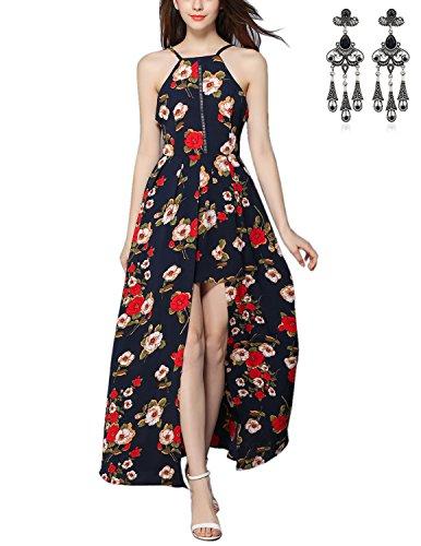 MODETREND Mujer Vestido Largo de Sin Mangas Escotado por Detrás Impresión de Playa para Verano Vestido de Fiesta de Noche Azul