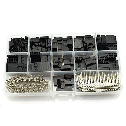 HJ Garden 620pcs 2.54mm Dupont Jumper Connectors Male Female Crimp Pin Terminal Kit 250V 3A 1-12Pin Dupont Cable Jumper Wire Pin Header Housing Kit