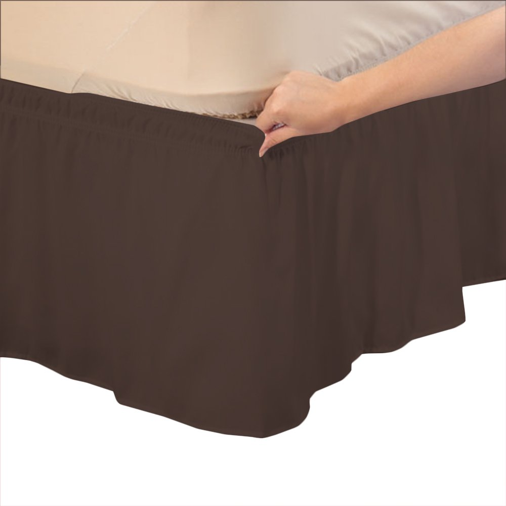 Relaxare Full XXL 600TC 100% Egyptian Cotton Chocolate Solid 1PCs Wrap Around Bedskirt Solid (Drop Length: 20 inches) - Ultra Soft Breathable Premium Fabric by Relaxare (Image #1)