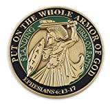 Put On The Whole Armor Of God EPH 6:13-17 Enamel 3D Challenge Coins (Antique Gold (1 Coin))