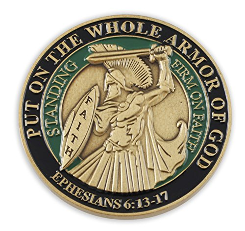 (Forge Put On The Whole Armor of God EPH 6:13-17 Enamel 3D Challenge Coins (Antique Gold (1)