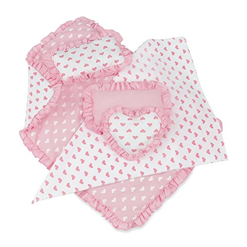 (18 Inch Doll Accessories | Reversible Pink Heart Print Ruffled Bedding Set with Comforter, 3 Pillows and Sheet | Fits American Girl Dolls)