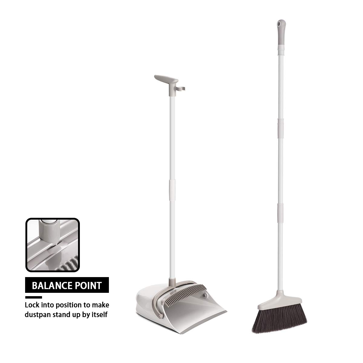 Broom and Dustpan Set, CQT Dust Pan and Broom with Long Handle for Home Kitchen Industry Lobby Floor Sweeping Upright Stand Up Dustpan Cleans Broom Combo by CQT (Image #8)