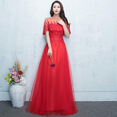 Sera Abito Sottile Elegante Era Rosso Xx Banchetto Femminile Nero Annuale Vestito Di Sha Da Host w1dEU1